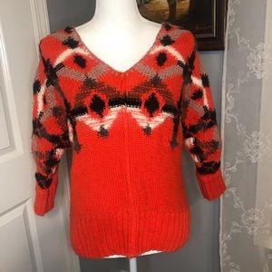 Anthropologie Fiets Voor Orange Sweater SZ S